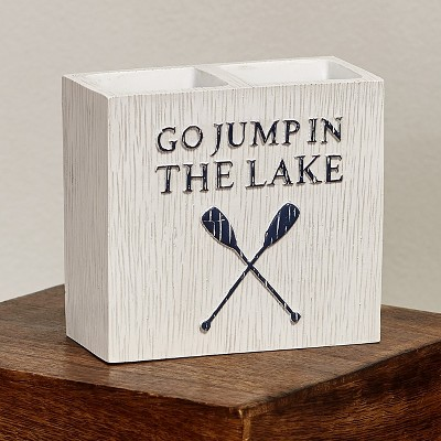 Lakeside Lakewords 2-Slotted Toothbrush Holder - Cabin Theme Bathroom Accent