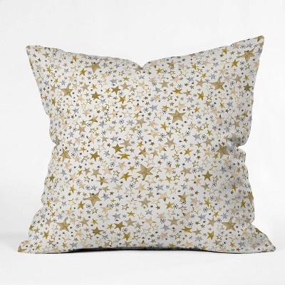 "16""x16"" Ninola Design Winter Stars Holiday Square Throw Pillow Gold/Yellow - Deny Designs"