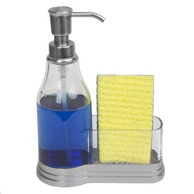 Home Basics Plastic Soap Dispenser With Brushed Steel Top And Fixed Sponge Holder : Target
