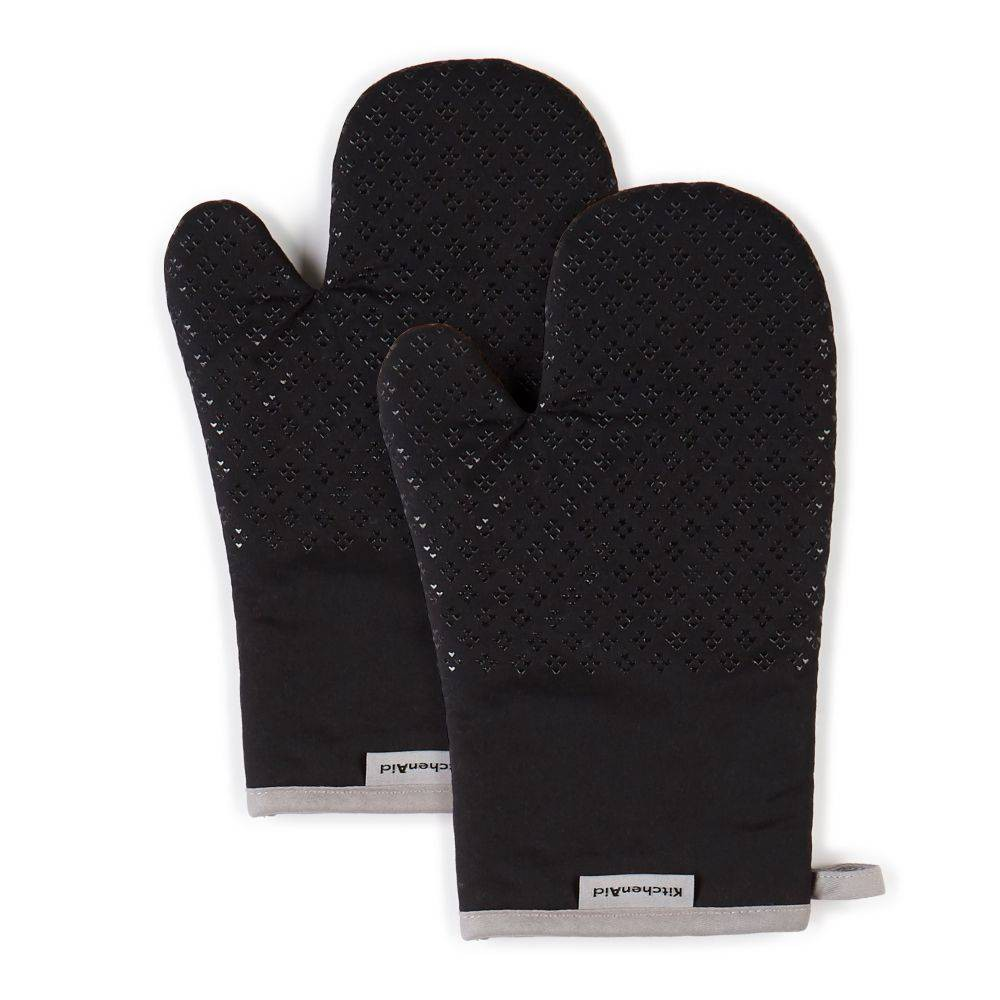 "Image of ""KitchenAid 2pk 7""""X12.5"""" Asteroid Oven Mitts Black"""