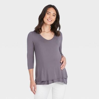 3/4 Sleeve Scoop Neck Nursing Maternity T-Shirt - Isabel Maternity by Ingrid & Isabel™