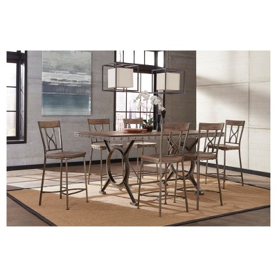 Paddock 7pc Counter Height Dining Set   Brushed Steel/Distressed Brown    Hillsdale Furniture : Target