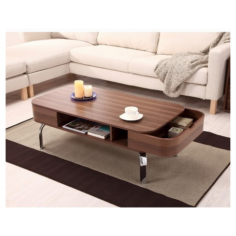 Kathrine Mid Century Inspired Storage Coffee Table Walnut Homes Inside Out Target