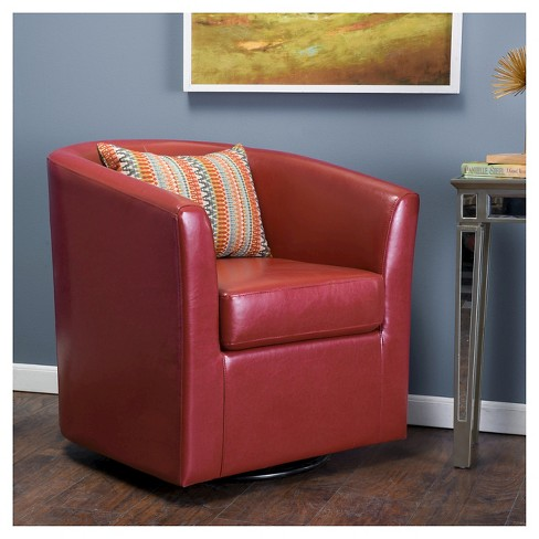 Daymian Faux Leather Swivel Club Chair Red Christopher Knight Home Target