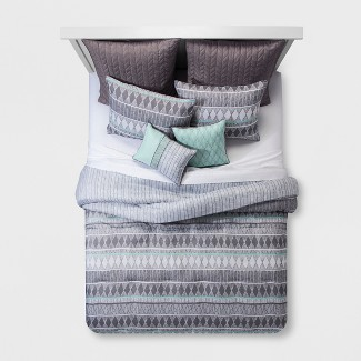 8pc King Dayton Geometric Comforter Set Blue