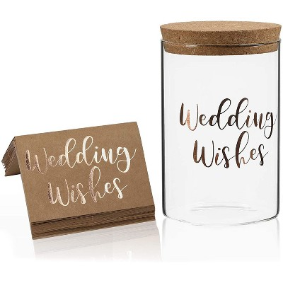 Sparkle and Bash 30-Piece Brown Kraft Wedding Wishing Paper Cards with Wedding Wishes Advice Jar, Rose Gold Foil