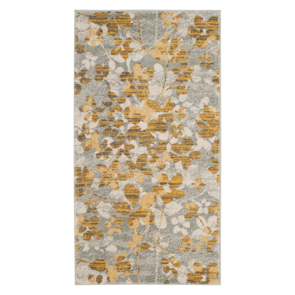 22X4 Floral Accent Rug Gray/Gold - Safavieh Coupons