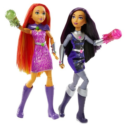 "DC Super Hero Girls' Intergalactic Sisters Starfire and Blackfire 12"" Action Doll 2pk - image 1 of 6"