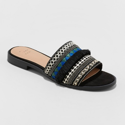 Women's Solana Beaded Slide Sandals - A New Day™ Black - image 1 of 3
