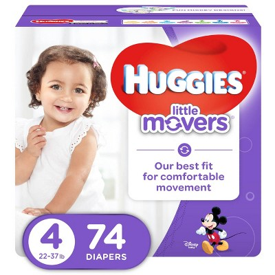 Huggies Little Movers Diapers - Size 4 (74ct)