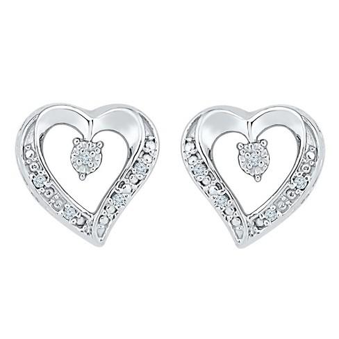 T W Round Cut Diamond Heart G Set Earring In Sterling Silver Ij I2 I3