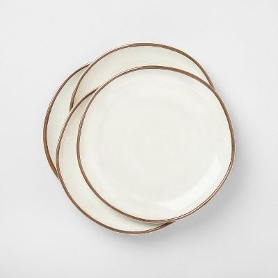 4pk Melamine Border Stripe Dinner Plate - Hearth & Hand™ with Magnolia