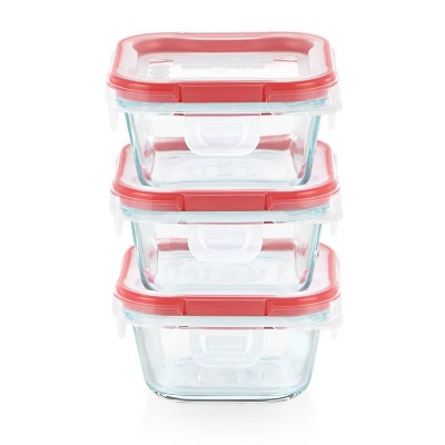 Pyrex Freshlock 6pc 1 Cup Square Glass Value Pack Set