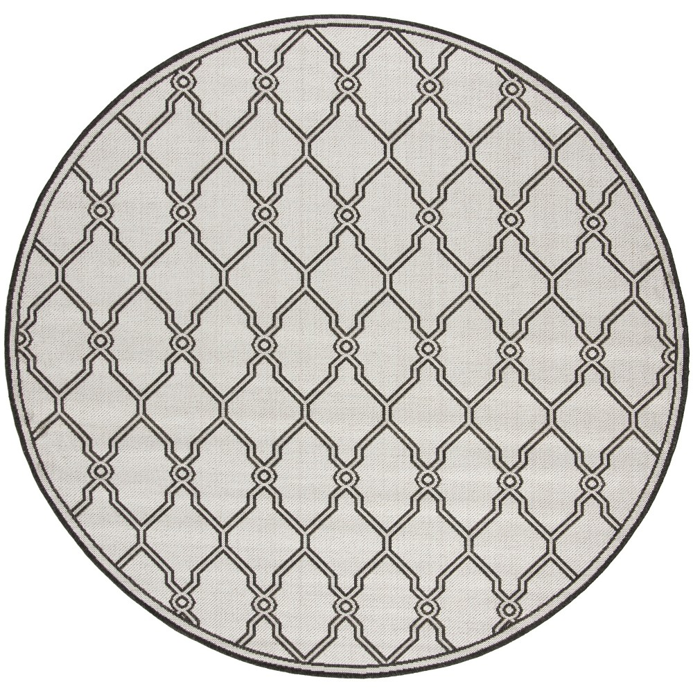 67 Round Geometric Loomed Area Rug Light Gray/Charcoal - Safavieh Top