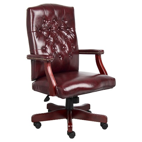 Phenomenal Classic Executive Oxblood Vinyl Chair With Mahogany Finish Burgundy Boss Office Products Machost Co Dining Chair Design Ideas Machostcouk