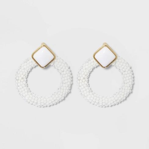 SUGARFIX by BaubleBar Enamel Studs with Beaded Hoop Earrings - image 1 of 3