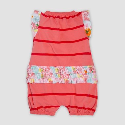 7a0feb66995 Burt s Bees Baby® Baby Girls  Organic Cotton Ruffled Bubble Romper - Pink  0-3M   Target