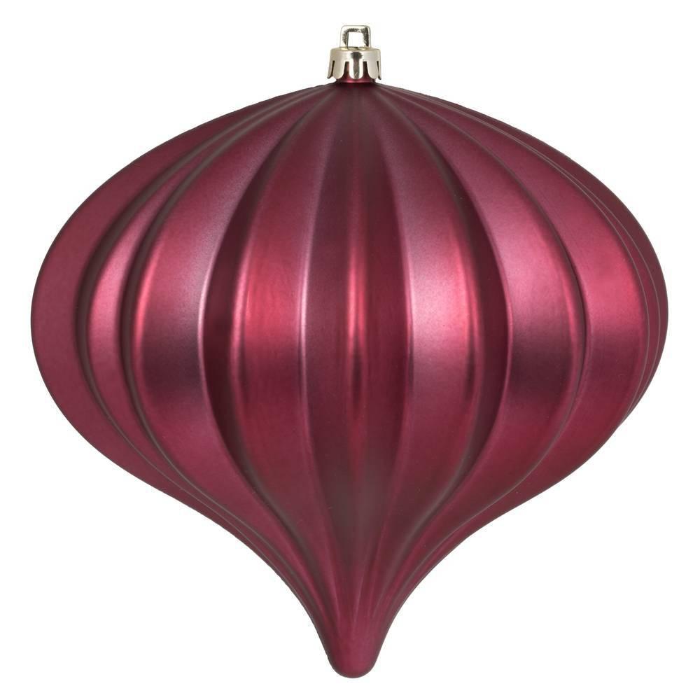 "Image of ""3ct Vickerman 5.7"""" Matte Onion Ornament, UV Coated Ornament Set Berry Red"""