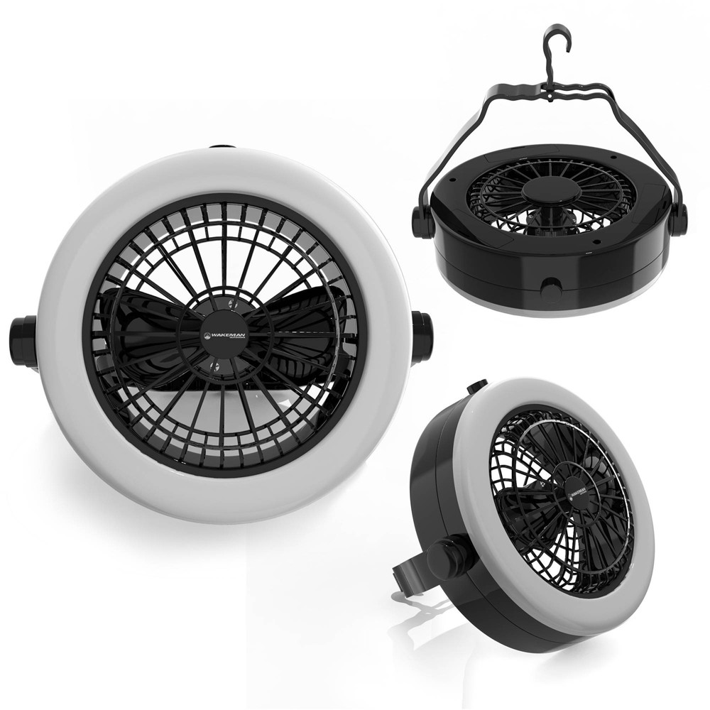 Wakeman Portable 2 In 1 Led Camping Lantern With Ceiling Fan White