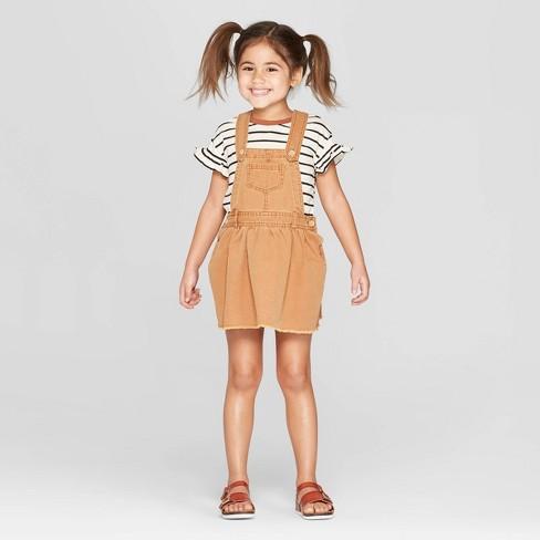 e4463fdb3a6 Toddler Girls  Striped Top And Skirtall Set - Art Class™ Brown   Target