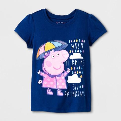 5a82189a1dd Toddler Girls  Peppa The Pig Rainbow Short Sleeve T-Shirt - Navy ...