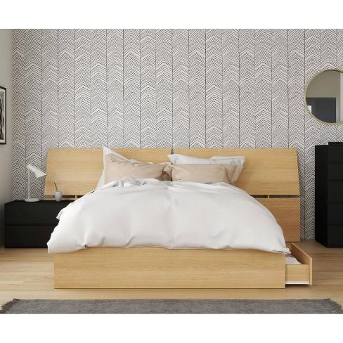 3pc Queen Parody Bedroom Set Natural Maple Black Nexera