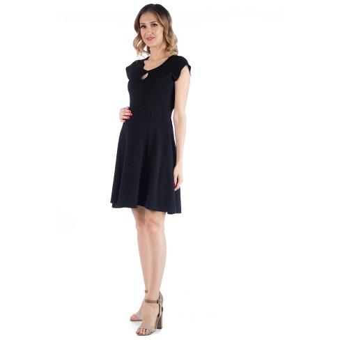 24seven Comfort Apparel Women's Maternity Keyhole Neck Dress - image 1 of 3