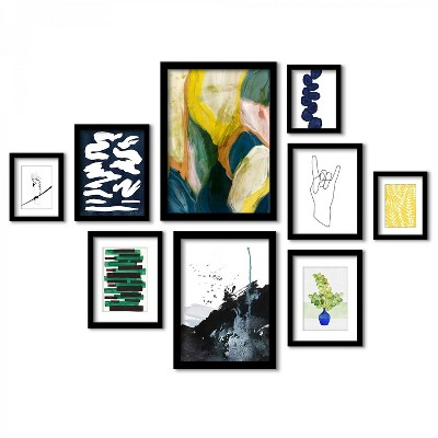 Americanflat Modern Abstract Shapes - 9 Piece Framed Gallery Wall Art Set
