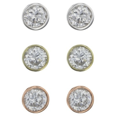 Cubic Zirconia Bezel Studs Sterling Earring Set 3pc - A New Day™ Silver/Rose Gold