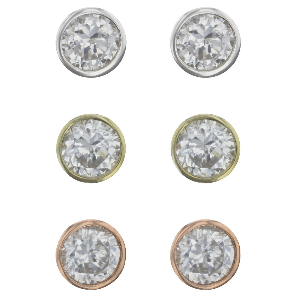 Image of Cubic Zirconia Bezel Set Studs Earrings Sterling - A New Day Silver/Rose Gold, Women's, Silver White Gold