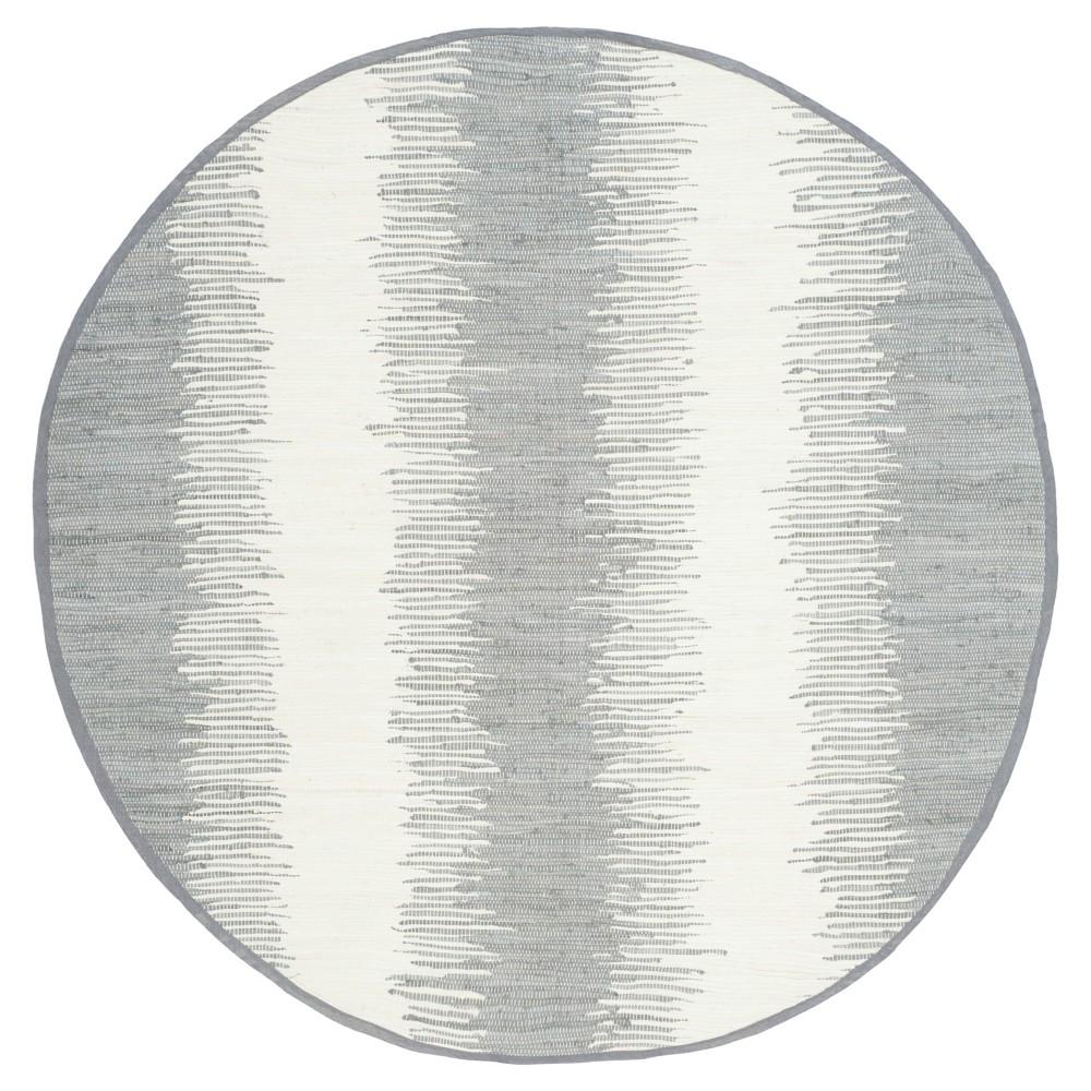 Flatweave Ikat Stripe Area Rug - Gray (6' Round) - Safavieh