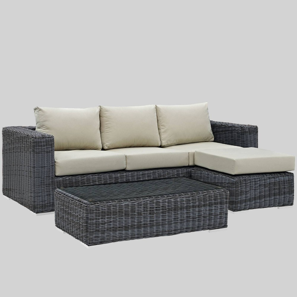 Summon 3pc Outdoor Patio Sectional Set with Sunbrella Fabric - Beige - Modway