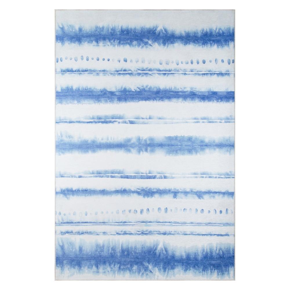 5'X7'6 Wave Loomed Area Rug Blue - Novogratz By Momeni, White Blue