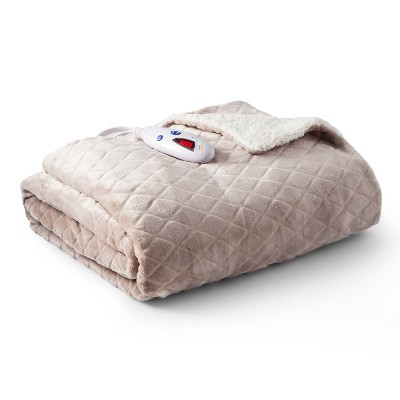 "Velour with Sherpa Electric Warming Throw Blanket (62""x50"")Taupe Diamond Embossed - Biddeford Blankets"