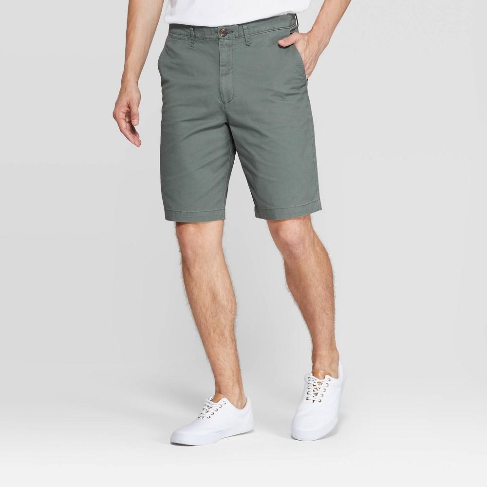 "Image of ""Men's 10.5"""" Flat front Shorts - Goodfellow & Co Sage Leaf 31, Men's, Green"""