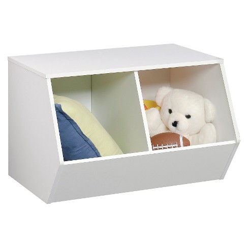 Stackable Laminate 2-Compartment Bin White - Pillowfort™ - image 1 of 2