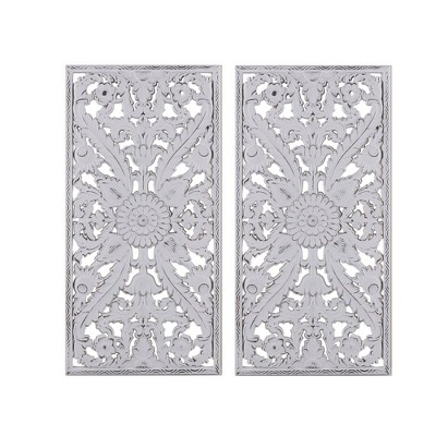"(Set of 2)15.5"" x 31.5"" Botanical Wood Carved Wall Panel White"