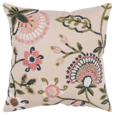 """20""""x20"""" Oversize Poly Filled Floral Square Throw Pillow - Rizzy Home"""