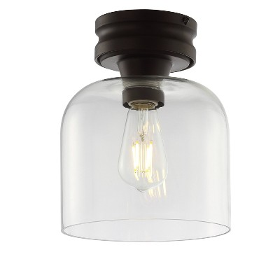 "7.75"" Metal/Glass Domenic Flush Mount (Includes Energy Efficient Light Bulb)Black - JONATHAN Y"