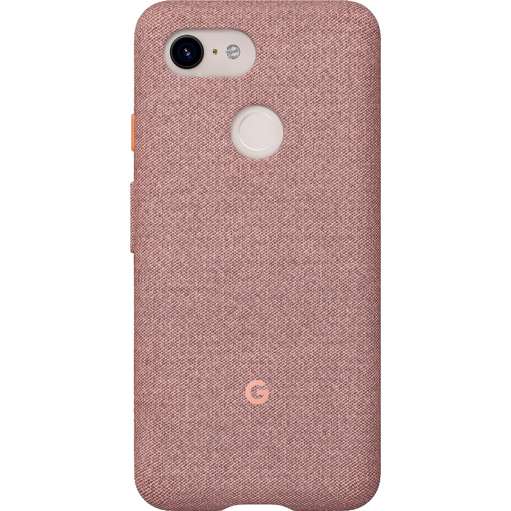 Google Pixel 3 Case - Pink Moon Looks good on you. Designed for Pixel 3, these fabric cases are compatible with Qi wireless charging and come in colors to match your lifestyle. Active Edge lets you access the Google Assistant with just a squeeze. Length: 5.9 in (148.96 mm) Width: 2.9 in (73.1mm) Height: 0.43 in (10.99mm) Weight: 1.4oz (40g) Materials: PC and Tpe Finish: Matte Color: Pink Moon. Pattern: Solid.