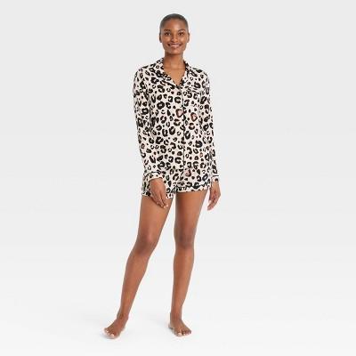 Women's Beautifully Soft Long Sleeve Notch Collar Top and Shorts Pajama Set - Stars Above™