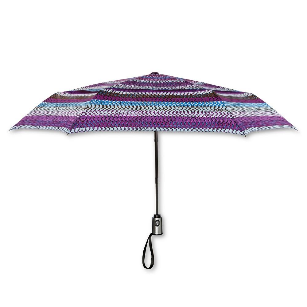 ShedRain Auto Open/Close Air Vent Compact Umbrella - Purple Stripe, Multi-Colored