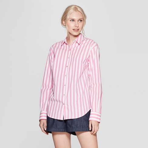 fdb799c3c1f9b3 Women's Striped Relaxed Fit Long Sleeve Collared Woven Shirt - A New ...