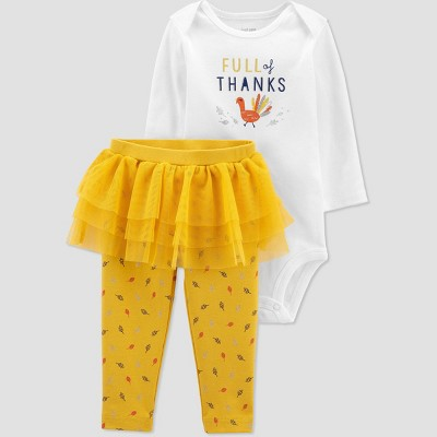 Baby Girls' 2pc Thanksgiving Tutu Bodysuit - Just One You® made by carter's Yellow 12M