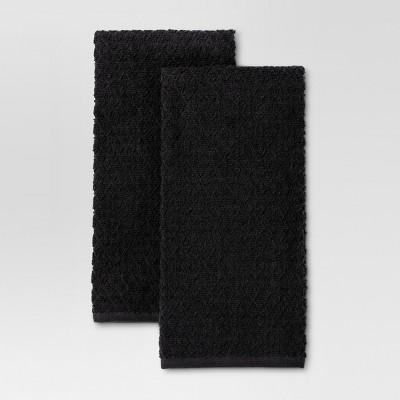 Kitchen Towel Black 2pk - Threshold™