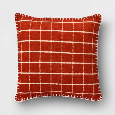 Plaid Chenille Square Throw Pillow Rust - Threshold™