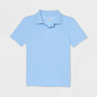 Boys' Short Sleeve Performance Uniform Polo Shirt - Cat & Jack™ Light Blue