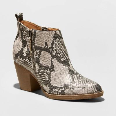 Women's Jameson Faux Leather Snake Double Zip Bootie - Universal Thread™ Gray 9.5