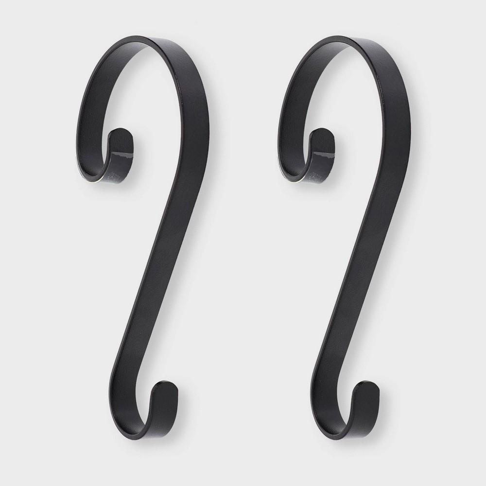 Image of 2ct Stocking Holder Matte Black - Stocking Scrolls