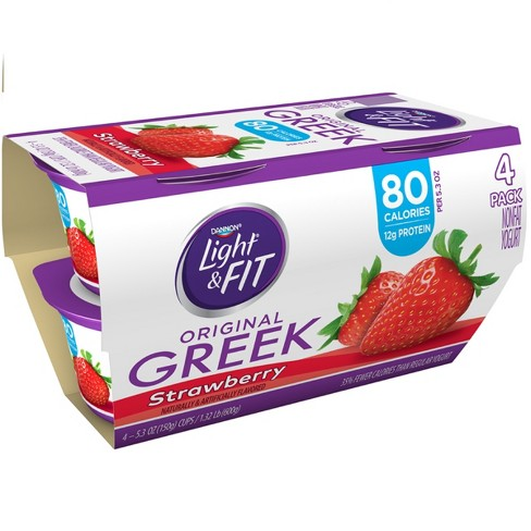 Dannon Light and Fit Strawberry Flavored Greek Yogurt - 4ct/5.3oz - image 1 of 1